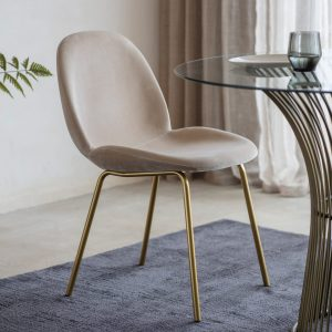 Mickey Velvet Dining Chair in Natural (Set of 2)