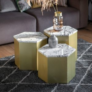 Milly 45cm Metal Side Table in Gold