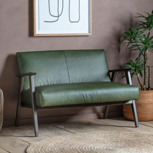 Newland Leather 2 Seater Sofa in Green