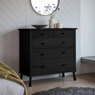 Nile Painted Wood Chest of Drawers in Black Image 2