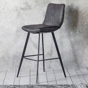 Patsey Faux Leather Bar Stool in Grey (Set of 2) Image 2