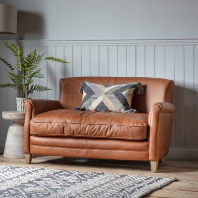 Pugsey Leather 2 Seater Sofa in Brown