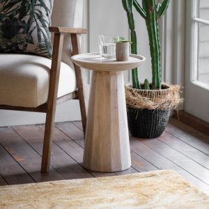 Rainham Mango Wood Side Table in White
