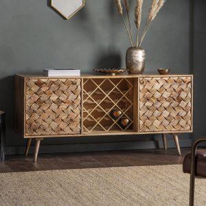 Remi Light Mango Wood Sideboard with Wine Storage