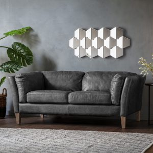 Rogate Fabric 2 Seater Sofa in Black