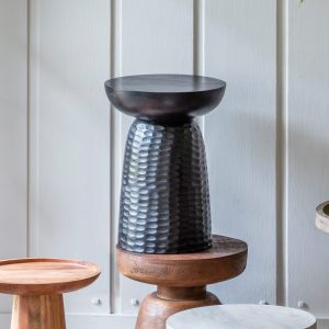 Rossin Mango Wood Side Table in Black