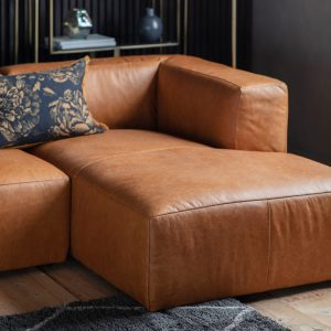 Russi Leather 4 Seater Corner Chaise Sofa in Brown