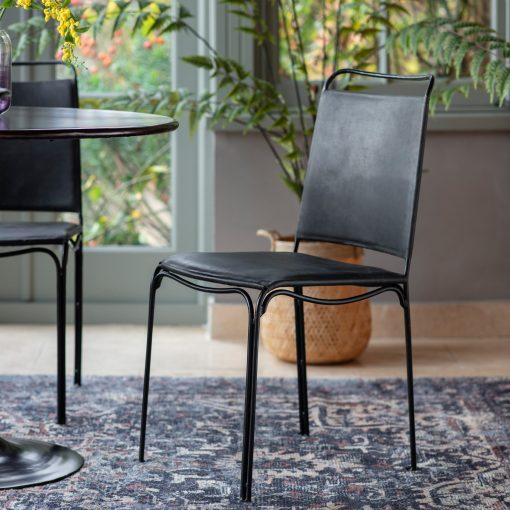 Statham Leather Dining Chair in Black (Set of 2)