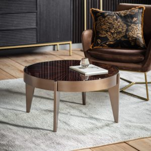 Teynham Pine Round Coffee Table in Gold Image 2