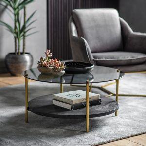 Tyler Glass Round Coffee Table in Black Image 2