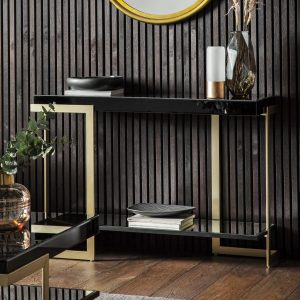 Vinicius Glass Console Table in Black Image 2