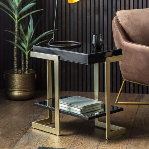 Vinicius Metal Side Table in Gold