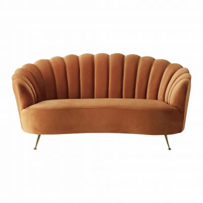 Whittle Fabric 2 Seater Sofa in Orange