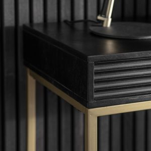 Whittle Mango Wood 2 Drawer Console Table in Black
