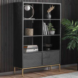Whittle Mango Wood Display Unit in Black