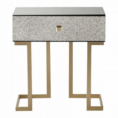 Yamber Mirrored 1 Drawer Side Table in Gold