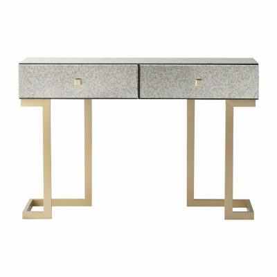 Yamber Mirrored 2 Drawer Console Table in Gold