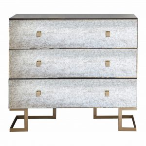 Yamber Mirrored Chest of Drawers in Gold Image 1