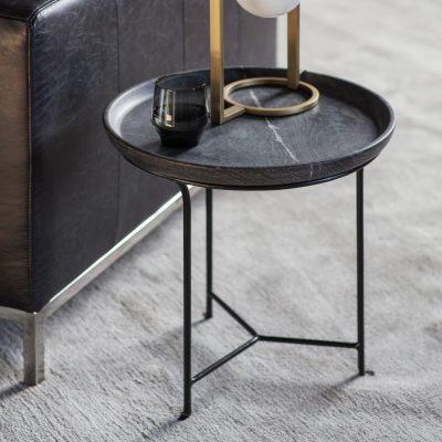 Acol Metal Side Table in Grey